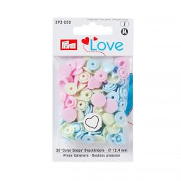 Prym Love Color Snaps Herz Hellblau/Mint/Rosa