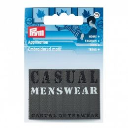 "Prym Applikation Jeanslabel Rechteck ""Casual Menswear"" Grau"