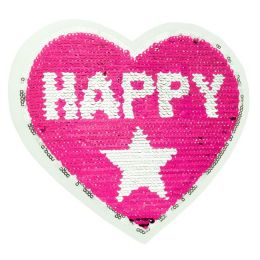 Wendepaillette Applikation Herz Happy Girl Pink/Silber