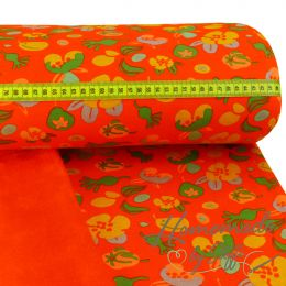Alpenfleece Modern Flowers auf Orange