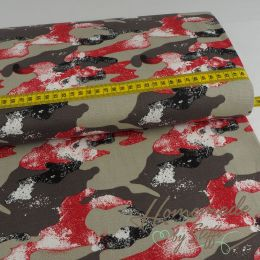 Baumwolle Stretch - Jeans Camouflage Rot