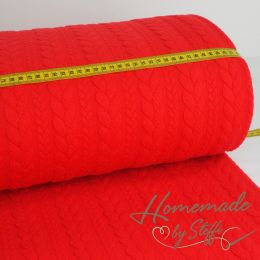Strickstoff Cably Zopfmuster Rot